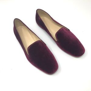 NEW J. Crew Smoking Velvet Slipper In Cabernet